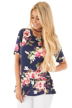 Lime Lush Boutique - Navy Watercolor Floral Print Tee with Large Ruffle Hem, $32.99 (https://www.limelush.com/navy-watercolor-floral-print-tee-with-large-ruffle-hem/)