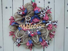 cow wreath bandana denim wreath lasso welcome