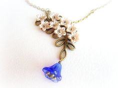 Flowers branch lariat necklace blossom by MalinaCapricciosa
