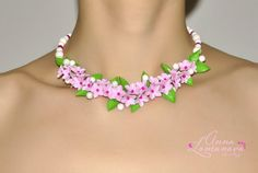 Pink Green Necklace/Pink Jewelry/Floral by jewelryLomunovaAnna