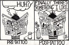 Pre-Tattoo and Post-Tattoo Funny Tattoo Quotes, Tattoo Memes, Funny Tattoos, Cartoon Humor, Cartoons, Local Bands, Inked Magazine, Best Memes, Funny Stuff