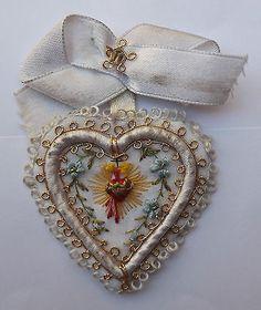 Genuine Beautiful Holy Scapular Sacred Heart of Jesus Hand Embroidery 1900s   eBay