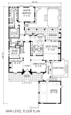 Plan #1-1111. Italian style home with a living S.F. of 4161 (6039 S.F. Total), 3 full baths and 1 half baths. 2 story home, 55' wide, and 102' deep.
