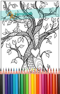 Heart Coloring Pages, trees, tree, tree of love, birds, coloring for grown-ups, colouring pages, love birds, adult, adults