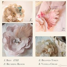 Corsage - mom's dress is the color of the accent in the top left photo, cream color or even light gold would be beautiful