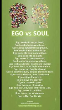 """Ego vs Soul """"Ego is the cause of pain, Soul is the chase of healing"""" Namaste 🙏 Ego Vs Soul, Les Chakras, How To Better Yourself, Spiritual Awakening, Spiritual Wisdom, Awakening Quotes, Spiritual Enlightenment, Me Quotes, Quotes Images"""