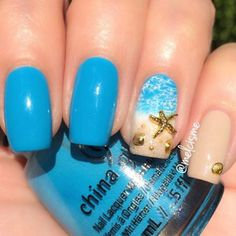 Over 50 tropical nail art designs to keep heads turning in your direction - nails - Tropical Nail Art, Tropical Nail Designs, Tropical Makeup, Tropical Design, Beach Nail Art, Beach Toe Nails, Nail Art Toes, Ocean Nail Art, Blue Nails