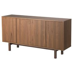IKEA - STOCKHOLM, Sideboard, walnut veneer, The sideboard in walnut veneer and solid ash brings a warm, natural feeling to your room. The distinctive grain pattern in the walnut veneer gives each piece of furniture a unique character. Sideboard Design, Walnut Sideboard, Sideboard Buffet, Ikea Stockholm Sideboard, Buffet Ikea, Sofa Tables, Console Tables, Buffet Tables, Sweet Home