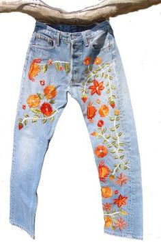 embroidered jeans - I used to do this in on my jeans and for friends. Those were the days
