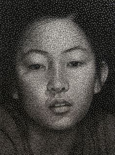 Mixed media portrait made with a single sewing thread wrapped through nails. By Kumi Yamashita...  #art #crafts