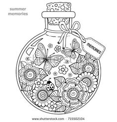 Coloring book for adults. A glass vessel with memories of summer. A bottle with bees, butterflies, ladybug and leaves. Raster copy