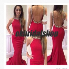 Sexy backless prom dress, red prom dress, mermaid prom dress, 2015 prom dress, cheap prom dresses, sexy prom dress, 16192 - Thumbnail 2