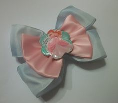 Embellished Light Pink and Light Blue Layered Princess Ariel Hair Bow | Jenstardesigns - Accessories on ArtFire