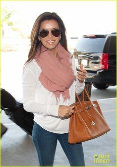 Eva Longoria Flashes a Smile at 'Fox & Friends'   eva longoria arriving at jfk 01 - Photo