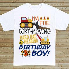 Kids Construction Birthday T-Shirt – blippi birthday party 3 Year Old Birthday Party Boy, Birthday Boy Shirts, Third Birthday, 4th Birthday Parties, Birthday Fun, Birthday Ideas, Construction Birthday Shirt, Construction For Kids, Construction Birthday Parties