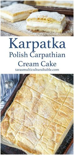 Karpatka (Polish Carpathian Cream Cake) - Tara's Multicultural Table Delicious Cake Recipes, Best Dessert Recipes, Special Recipes, Yummy Cakes, Fun Desserts, Sweet Recipes, Vegetarian Desserts, Polish Recipes, Polish Food