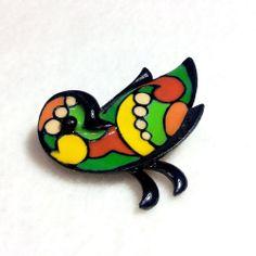 Vintage Eisenberg Enamel Pin Brooch Bird Handpainted Artist Series Signed