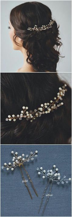 Wedding Hair Accessories elegant bridal hair pins for wedding hairstyles - Category: Hair AccessoriesGender: Women'sOccasion: Outdoor, Special Occasion, WeddingMaterials: Pearl, Alloy No. Of Pieces: Color: Silver, GoldLength: Tips: Color Elegant Wedding Hair, Wedding Hair Pins, Wedding Hair And Makeup, Bridal Makeup, Hair Pieces For Wedding, Unique Wedding Hairstyles, Elegant Hairstyles, Headband Hairstyles, Diy Hairstyles