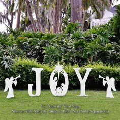 Outdoor nativitiy sets such as this Joy Nativity Yard sign make a great Christmas lawn decorations