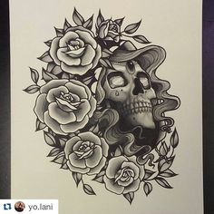 @yo.lani has this badass piece of flash available - 31x25cm get it on your thigh or back. Book in this week and lani will give you a super sweet deal. #tattoo #tattoosandflash #flash #tattooflash #skulltattoo #rosetattoo #christchurch #christchurchtattoo #newzealand