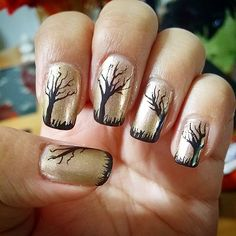 Pin for Later: 102 Halloween Nail Art Ideas That Are Better Than Your Costume Barren Branches