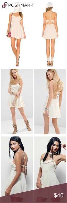 """Free People More Than a Mini dress - Size M Free People 'More Than a Mini Dress' in beige - NWT!! Size M. 100% cotton - I think the last two photos more accurately show the material. Crisscross tie back; button loop back closure. Approx. 32"""" length. I'm away for the weekend but can upload a picture of the actual dress when I get back. Smoke-free home 😊 Free People Dresses Mini"""