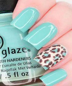 Beautiful Blue leopard Nails