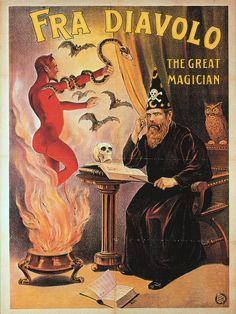 sisterwolf: Fra Diavolo (magician) ( Vintage Magic / Retro Poster / Devil / Magic / Bats )
