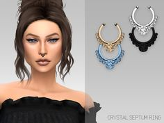 A crystal septum ring for your cute sims! Found in TSR Category 'Sims 4 Female Earrings' Sims 4 Piercings, Tongue Piercings, Cartilage Piercings, Rook Piercing, Piercing Ideas, Septum Ring, Mods Sims, Maxis, Sims 4 Tattoos