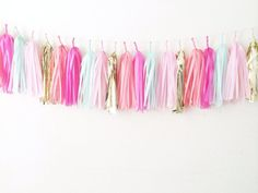 We love to party Tissue Paper Tassel Garland by GlamFeteByBri, $29.50