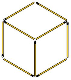 """Cube - Nine matchsticks form three equal rhombuses. Move four matchsticks to get five equilateral triangles. Puzzle from """"Puzzlebook: 100 Matchstick Puzzles"""" book for Kindle. By The Grabarchuk Family."""
