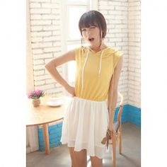 $11.01 Casual Style Hooded Color Splicing Elastic Waist Double-Deck Ruffled Sleeveless Dress For Women