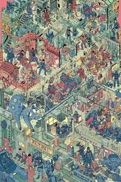 For Hero Complex Gallery's Sci-Scapes exhibit, illustrators Josan Gonzalez and Laurie Greasley made The Raid, a massive cyberpunk artwork filled with Arte Cyberpunk, Comic Kunst, Comic Art, Geof Darrow, Wheres Wally, Ligne Claire, Kunst Poster, Miyagi, Ghost In The Shell
