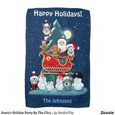 Santa's Holiday Party By The Christmas Tree Hand Towels
