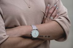 roman numerals wedding date arm tattoo, small tattoos