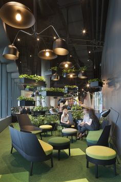 Open space office divided in smaller and cozier sitting areas using plants. Open space office divided in smaller and cozier sitting areas using plants. Open Space Office, Bureau Open Space, Office Space Design, Workspace Design, Office Interior Design, Office Interiors, Tiny Office, Office Workspace, Office Decor