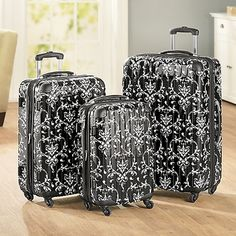 3-Piece Black Floral Hardside Luggage Set in Holiday 2012 from Ginnys on shop.CatalogSpree.com, my personal digital mall.