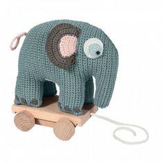 Sebra Häkel-Elefant auf Rädern, pastell-blau