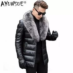AYUNSUE Leather Jacket Men Winter Thick Warm Second Layer of Sheepskin Coat for Men Down Jacket Fox Fur Collar Outwear LWL1088 Thick Leather, Leather Coats, Leather Jacket, Jacket Men, Sheepskin Coat, Man Down, Fur Collars, Fox Fur, Winter Coat
