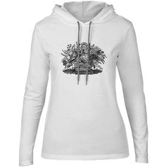 Mintage Floral Basket Womens Fine Jersey Hooded T-Shirt