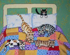 """""""Bed Full of Cats"""" - Whimsical Folk Art Print by Folk Artist Julie Ellison"""