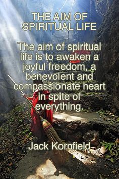THE AIM OF SPIRITUAL LIFE The aim of spiritual life is to awaken a joyful freedom, a benevolent and compassionate heart in spite of everything. ❤︎ Jack Kornfield