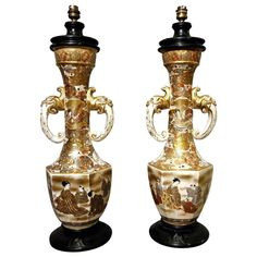 Rare Pair of Bronze, Porcelain Satsuma Table Lamps, Japan End of the 19th Century, circa 1880-1900 | From a unique collection of antique and modern table lamps at https://www.1stdibs.com