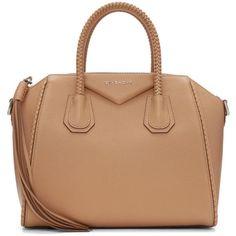 Givenchy Tan Small Braided Antigona Bag (5 380 BGN) ❤ liked on Polyvore featuring bags, handbags, tan, clasp handbag, duffel bag, woven leather purse, woven handbags and braided handle handbag