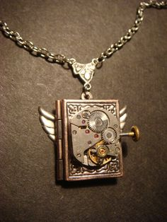 Steampunk Neo Victorian Watch Movement LOCKET Necklace with Wings (609) on Etsy, $27.00