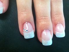 Prom nails sculpted acrylic sparkle French rhinestone accent