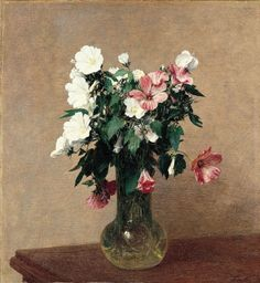 """White and pink mallows in a vase"" (1895) By Ignace-Henri Fantin-Latour, from Grenoble, France (1836 - 1904) - oil on canvas; 53.3 x 49.5 cm; 21 x 19-1/2 in - © Norton Simon Art Foundation, Pasadena, California, US The Norton Simon Foundation (F.1967.3.1.P), sold 2003 to Norton Simon Art Foundation. http://www.nortonsimon.org/"