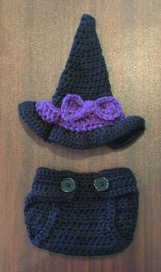 Crochet Baby Witch Hat and Diaper Cover, Witch Broom, Cauldron, Crochet Baby Witch,Photo Prop-Halloween Baby Witch Set-First Halloween-Witch