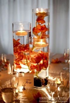 Homemade center pieces for tables; fall wedding decorations
