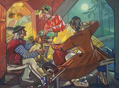 """5 niesamowitych artystek, których historie mało kto zna. A szkoda. Zofia Stryjeńska - """"Góralscy grajkowie przy winie"""""""